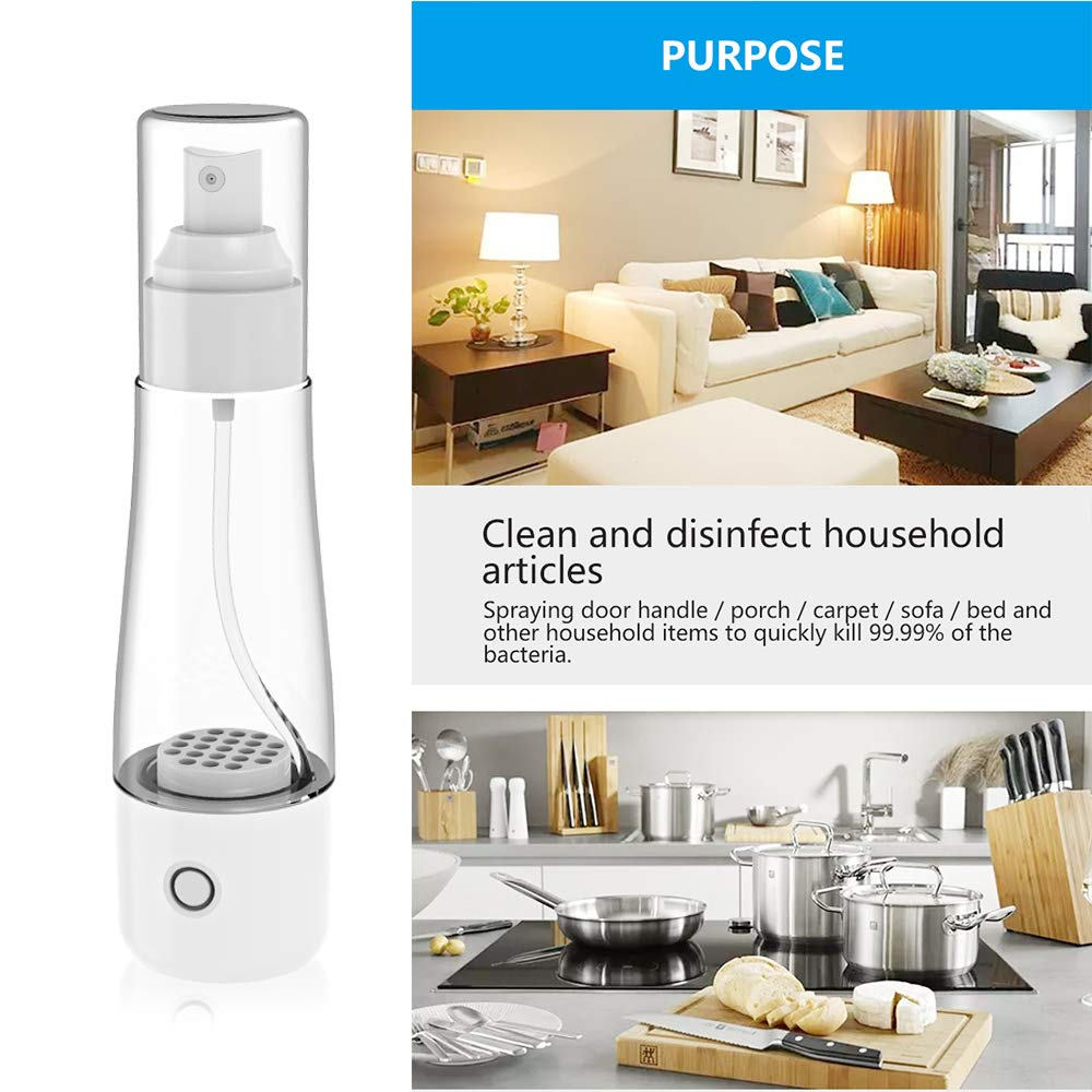 Disinfectant Manufacturing Machine,70ml Hypochlorous Acid Water Making Machine Portable Transparent Disinfection Sterilization for Kitchen Bathroom Living Room