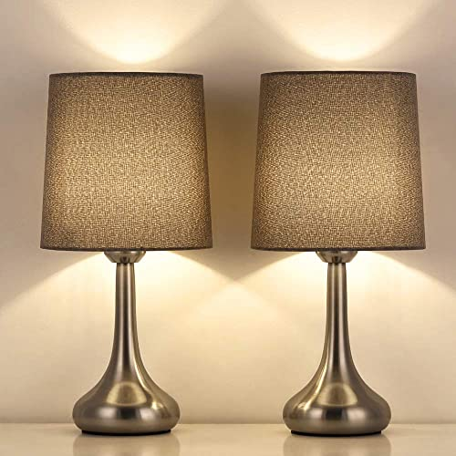 Bedside Table Lamps Set of 2 Small Modern Desk Lamp Classic Nightstand Table Light Set with Gray Fabric Shade and Silver Metal Base for Bedroom, Living Room, Office, Coffee Table, Great Gift