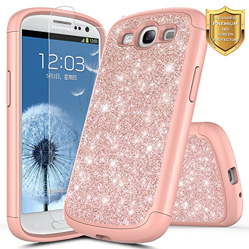 Galaxy S3 Case w/[Screen Protector HD Clear], NageBee Glitter Sparkle Shiny Bling Hybrid Protective Armor Soft Silicone Cover Cute Case Compatible with Samsung Galaxy S3 -Rose Gold (Cover S3 For Bling Galaxy)