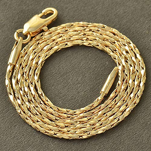 FidgetKute Womens 14K Gold Filled Twisted Rope Long Chain Necklace 18