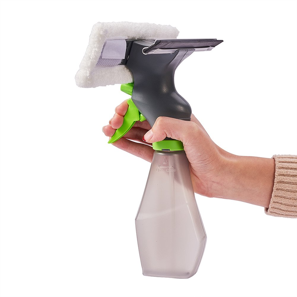 Jscarlife 9.7' Professional Microfiber Window Combi: 3-in-1 Professional Squeegee and Window Scrubber Spray Bottle for Window Shower Floor Car Home and Office Glass