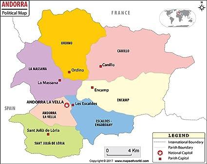 Amazon.com : Andorra Political Map (36