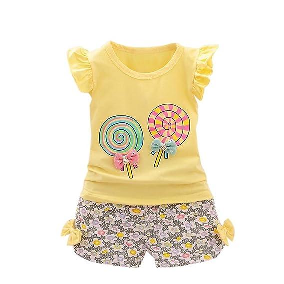 8bab8119b 🍓 Conjunto niñas, 2PCS niño bebés Trajes Lolly Camiseta Tops + Pantalones  Cortos Ropa Absolute: Amazon.es: Ropa y accesorios