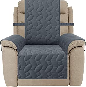 SUNNYTEX Water Resistant Recliner Chair Slipcover, Recliner Cover for Dog Non-Slip Sofa Couch Cover for Pet Furniture Protector Children(Recliner,Dark Grey)