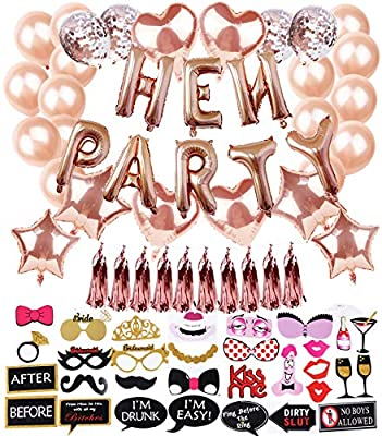 76pack Hen Party Decorations Accessories Hen Party Balloons Rose Gold Hen Do Decorations Include Photo Booth Props Rose Gold Self Inflating Foil And