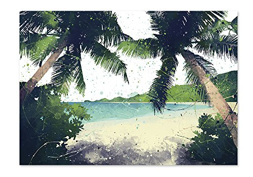 PlatiesStore P60 Palm Beach Scene Poster Watercolor Wall Art Prints Decor Paper -