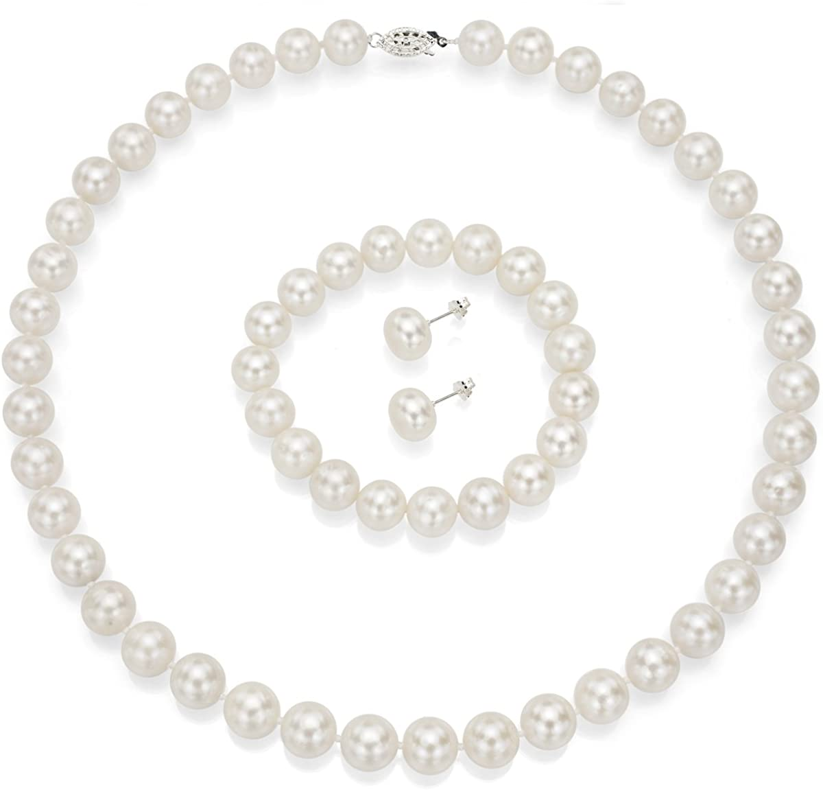 Sterling Silver 10-10.5mm White Freshwater Cultured Pearl Necklace 18 and Stud Earrings Set