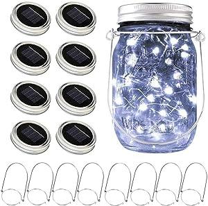 Solar Mason Jar Lights, 8 Pack 15 LED Waterproof Fairy Firefly Jar Lids String Lights with Hangers(NO Jars), Patio Yard Garden Wedding Easter Decoration - Cool White