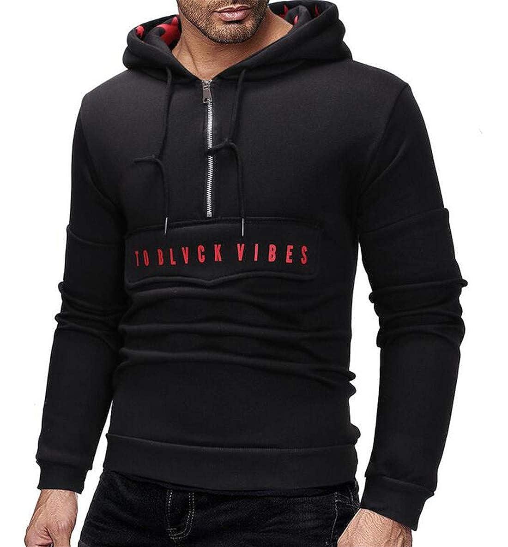 XiaoTianXinMen XTX Men Half-Zip Pullover Slim Hooded Drawstring Printed Sweatshirt