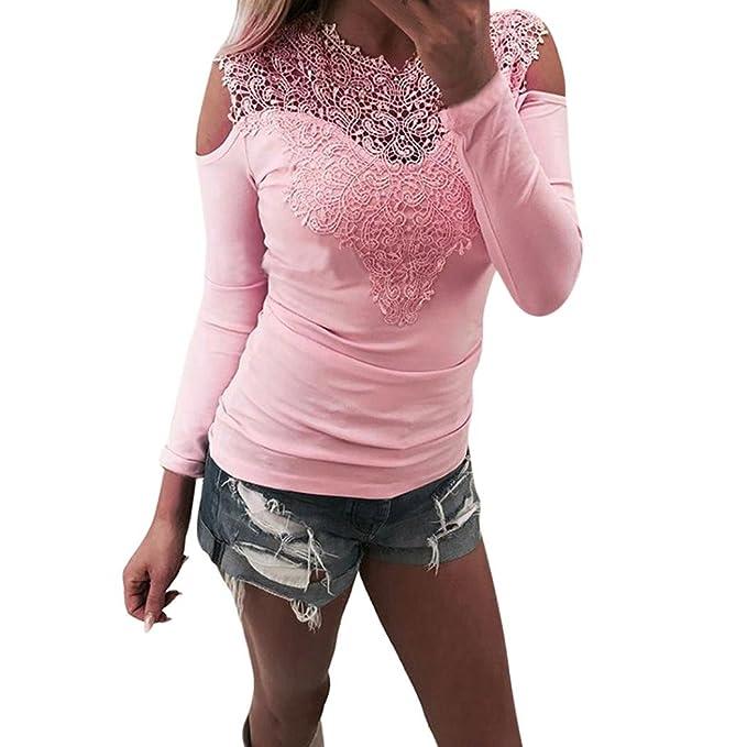 Camisetas Mujer Manga Larga,VENMO Atractiva Mujeres Manga Larga O cuello Encaje Patchwork Sudadera Blusa