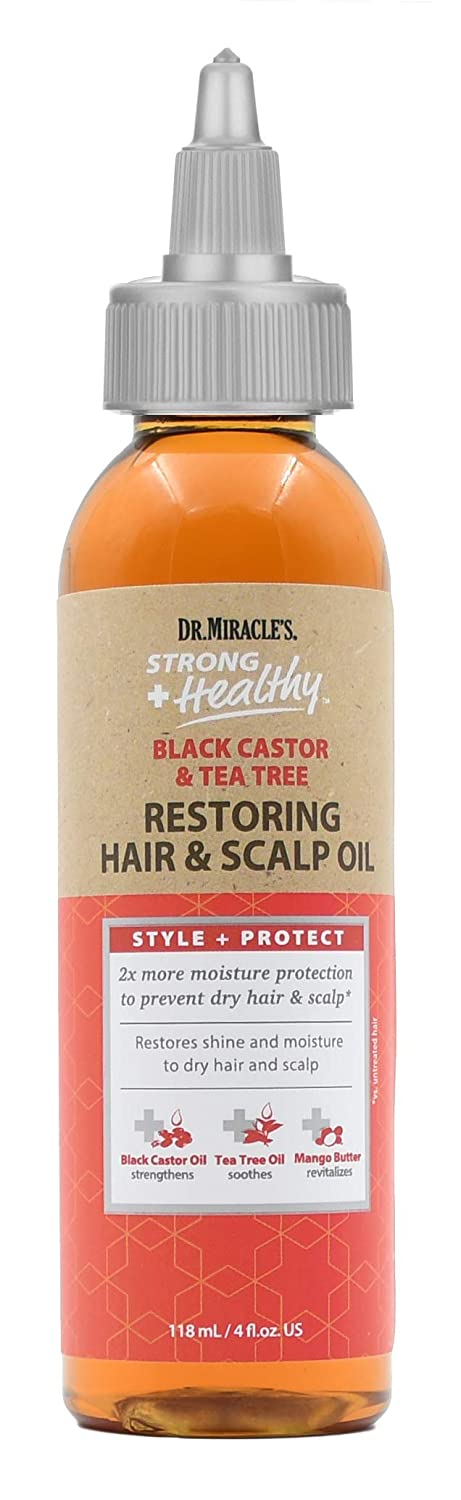 Dr. Miracle's Strong & Healthy Restoring Hair & Scalp Oil. Contains Black Castor Oil, Tea Tree Oil and Mango Butter providing 2x more moisture to prevent dry hair and scalp.