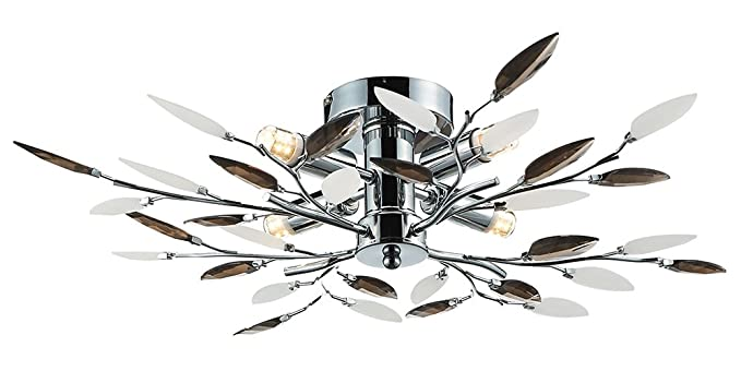 Steel Polished Chrome Haysom Interiors Modern 4 Semi Flush Ceiling Light with Amber and White Leaves