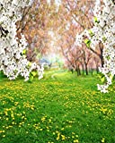 AOFOTO 8x10ft Spring Scenic Backdrop Sweet Flowers Photography Background Meadow Floral Blossoms Garden Florets Grassland Park Trees Kid Baby Portrait Photo Shoot Studio Props Video Wallpaper Drape