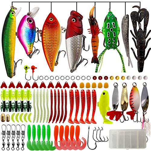 OPQ Fishing Lures Kit Set with Tackle Box Fishing Gear Equipment for Freshwater Trout Bass Salmon Fishing Baits Kit Including Frog Lure Spoon Lures CrankBait Jigs Topwater Lures