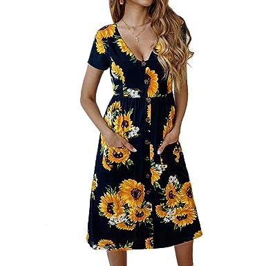 d9c4019816619 Women's Short Sleeve Dresses Summer Boho Sunflower Printed Button Midi  Skater T Shirt Dress with Pockets at Amazon Women's Clothing store: