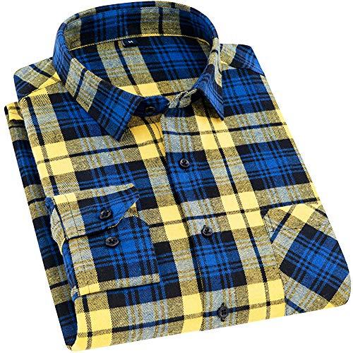 (DOKKIA Men's Dress Slim Fit Buffalo Plaid Checkered Long Sleeve Flannel Shirts (Yellow Blue Gingham, Medium) )