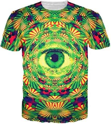 Uideazone Juniors Printed Flower Eye T Shirt Cool Graphic Tee Green