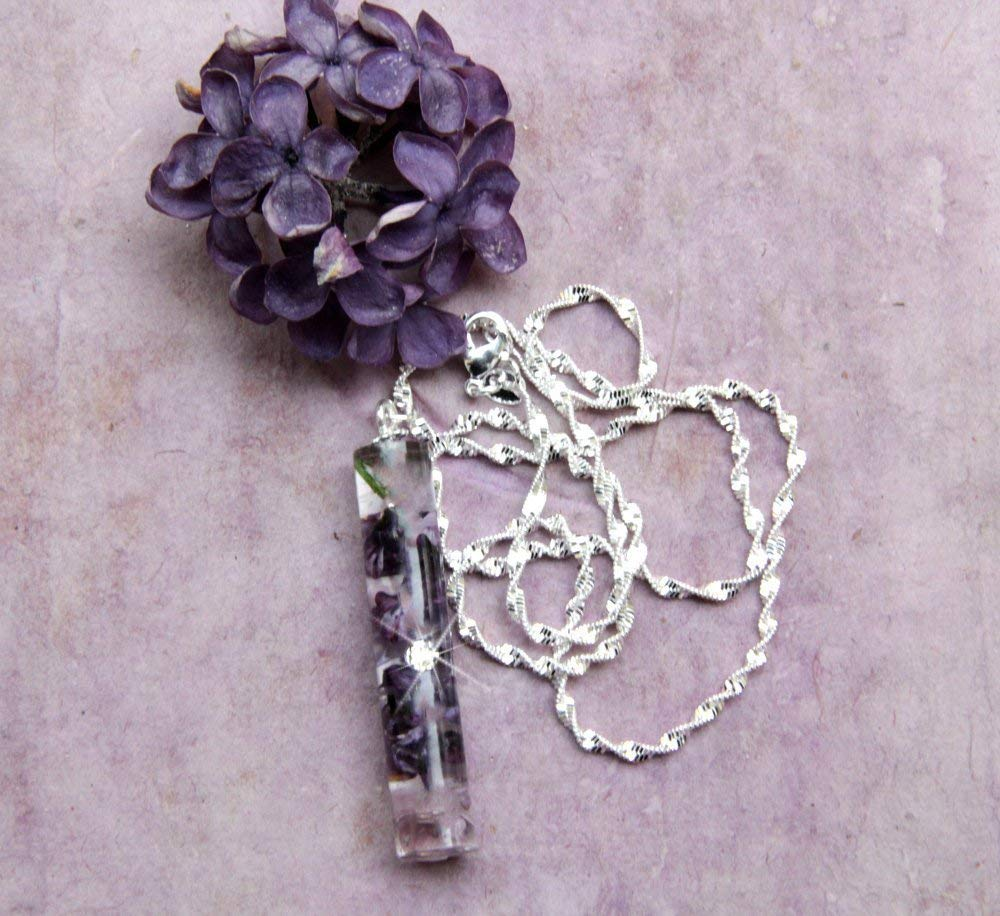 Vertical Bar Necklace Handmade With Real Lilacs