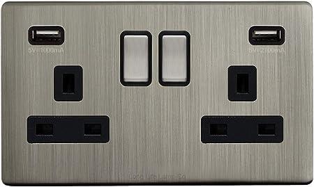 Gloss Brush Chrome USB Double Wall Plug Socket