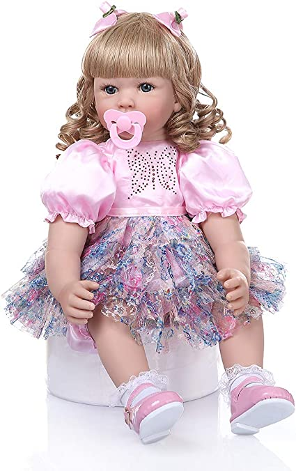 Real Size Look Reborn Baby Dolls Weighted Body Reborn Doll Girl with Blonde Hair