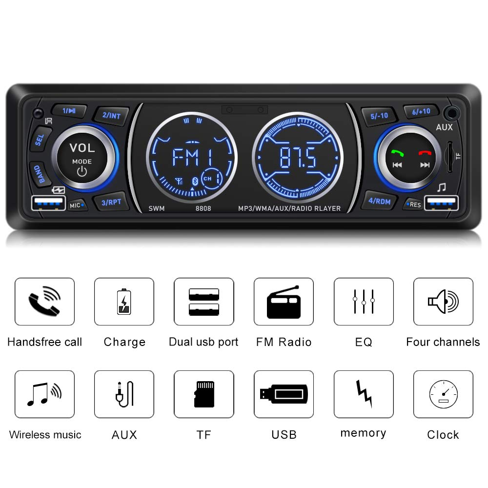 Car Stereo with Bluetooth Single Din Car Stereo Car Radio Car Audio Player Support Phone Fast Charge USB SD Card AUX in with Wireless Remote Control by SWM