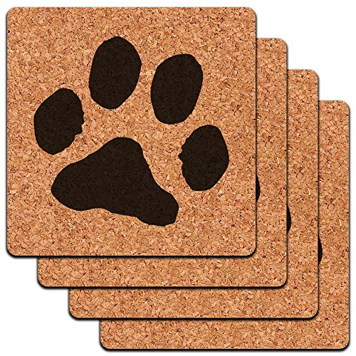 Paw Print Pet Dog Cat Low Profile Cork Coaster Set