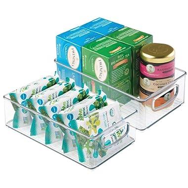 mDesign Plastic Kitchen Pantry Cabinet, Refrigerator or Freezer Food Storage Bins with Handles - Organizer for Fruit, Yogurt, Snacks, Pasta - Food Safe, BPA Free, 6  Wide, 2 Pack - Clear