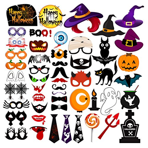 53pcs HAPPY HALLOWEEN Photo Booth Props Witch Hat Pumpkin Bat Tombstone Fancy Party Decor Supply Gift Box