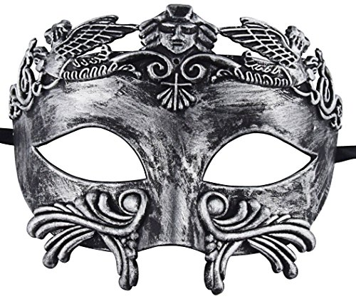 KEFAN Greek Roman Masquerade Mask for Men Venetian Mardi Gras Halloween Wedding Ball Mask (Silver -
