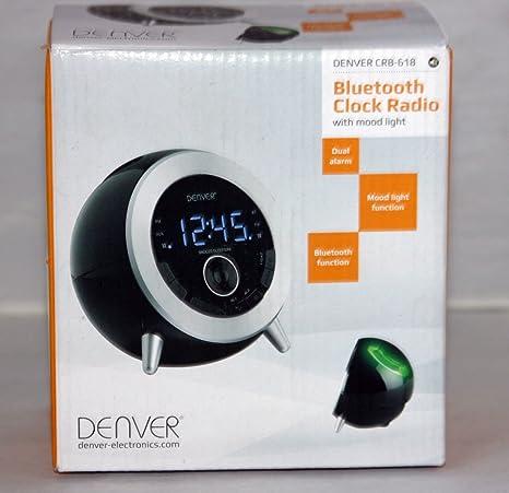 Denver 15221020 - Radiodespertador (USB, Bluetooth), negro y plateado (importado)