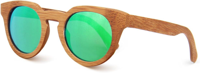 SUKUTU Hombres Mujeres Gafas De Sol De Bamb/ú Hechas A Mano Gafas de Madera Polarizadas Moda Retro Al Aire Libre con Caja de Bamb/ú SU039