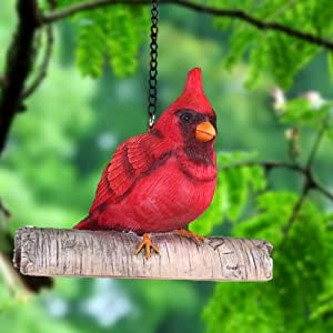 Claratut Mini Red Cardinal Bird Ornament On A Tree for Outdoor Indoor Use,Tree Statue Figurines Garden Decor 4.7L X4H