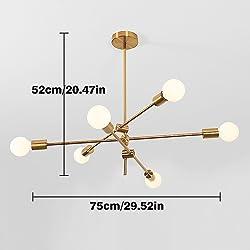kele dreamer 6-Light Sputnik Chandelier Lighting, Brushed Brass Modern Pendant lighting Gold Mid Century Ceiling Light Fixture for Dining Room Bed Room Kitchen Room Light