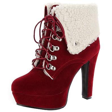 YE Damen Plateau High Heels Ankle Boots Blockabsatz