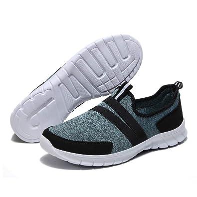 HQUEC Womens Lightweight Walking Shoes Casual Slip On Performance Sneakers  Memory Foam (Black Blue fdf8c5c2f
