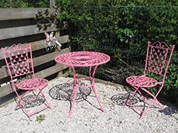 Merveilleux French Ornate Pink Wrought Iron Metal Garden Table And Chairs Bistro  Furniture Set