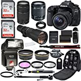 Canon EOS 80D Digital SLR Camera with EF-S 18-55mm IS STM & EF 75-300mm f/4-5.6 III + 500mm Preset Telephoto Zoom Lens + 2pc SanDisk Ultra 32GB Memory Cards + Accessory Bundle (20 Items)