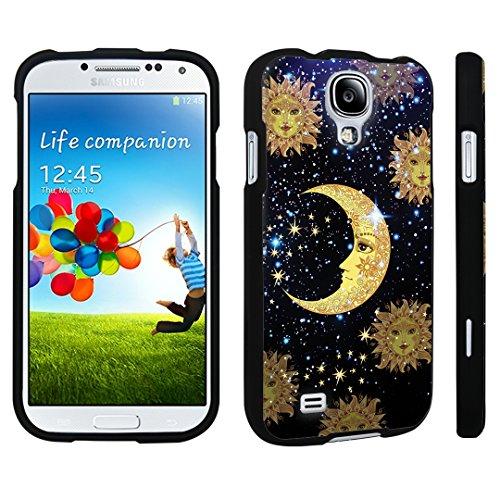 DuroCase ® Samsung Galaxy S4 Hard Case Black - (Moon Stars Sun)