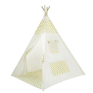 UKadou Kinder-Tipi-Zelt mit Bodenmatte und Aufbewahrungstasche für ...