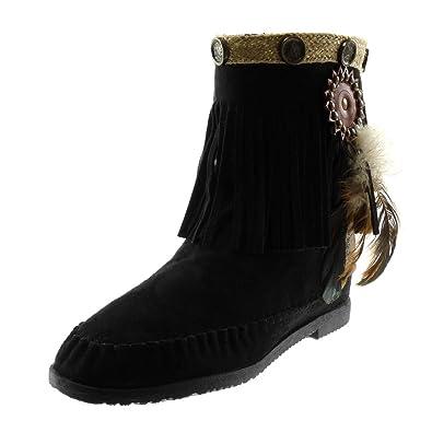 Angkorly Damen Schuhe Stiefeletten Stiefel Mokassin
