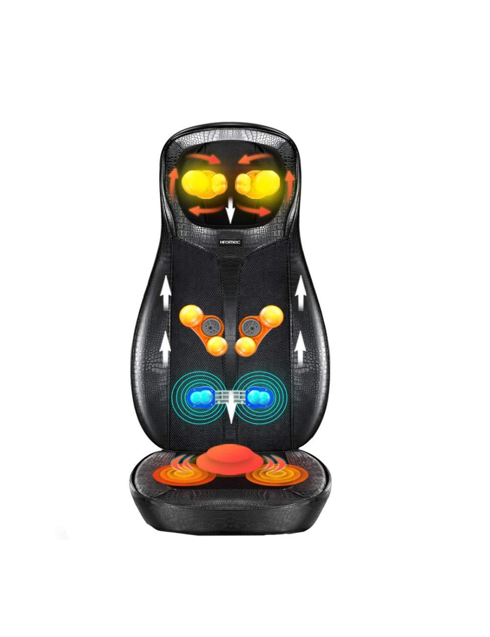 首と背中のマッサージ指圧マッサージクッション、電気フルボディマッサージクッション、深い混練、ローリング、振動、家庭での分割デザイン、オフィスでの使用 (色 : 黒)  黒 B07JVB5VX5