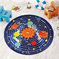HUAHOO Kids Round Rug Solar System Learning Area Rug Childrens Fun Area Rug - Non Slip Bottom (39 Diameter Round)