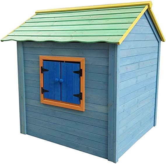 Casita de madera para niños, pintada, seguridad probada EN71: Amazon.es: Jardín