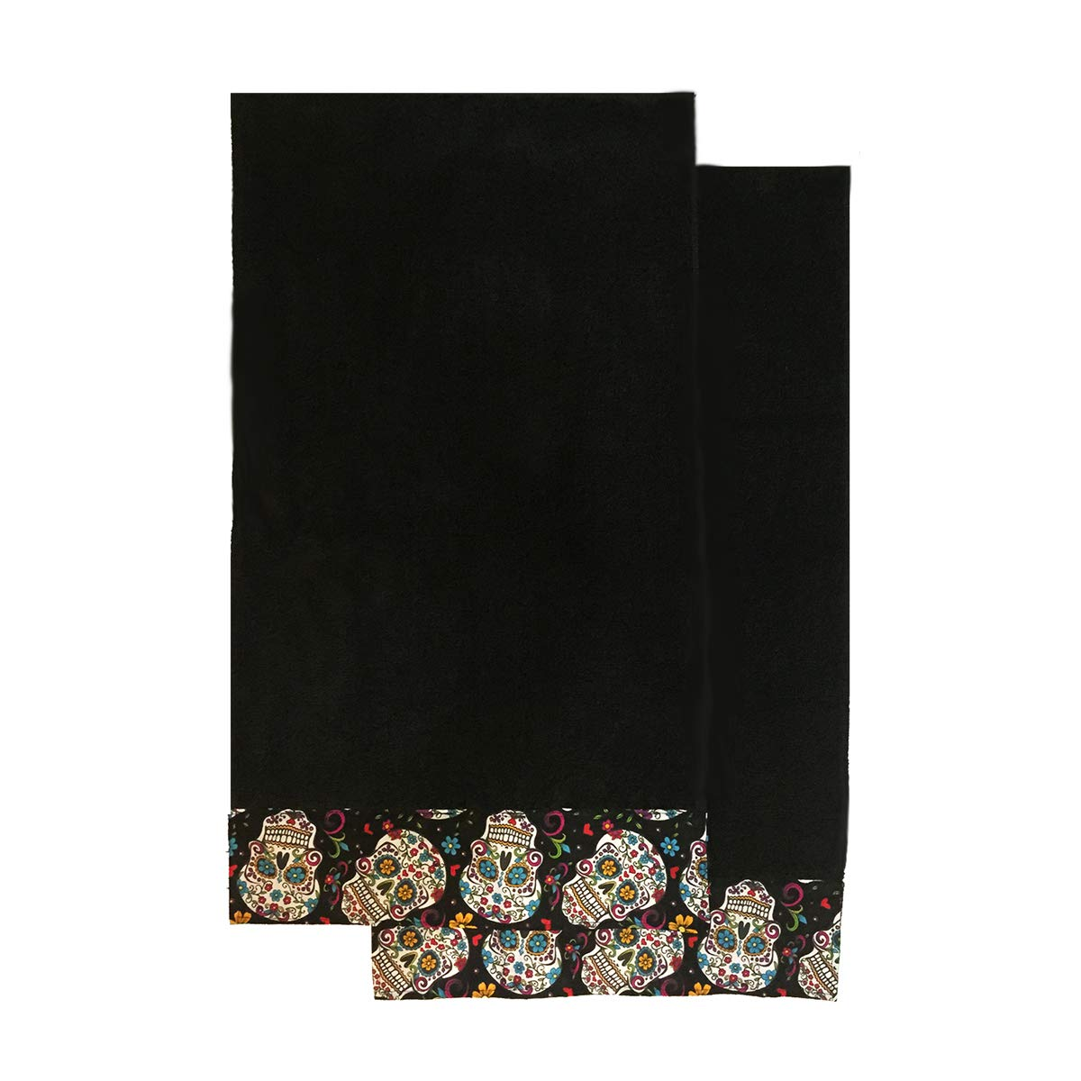 Jumpsies Sugar Skull Kitchen Towel Bath Hand Towel Set of 2 Pieces (Black) 9