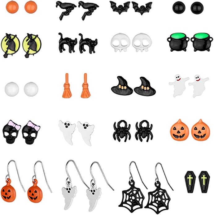 WskLinft Halloween Earrings for Women,1Pc Funny Spider Earring Stud for Dance Halloween Costume Party Decoration Gothic Punk Fancy Dress Jewellery