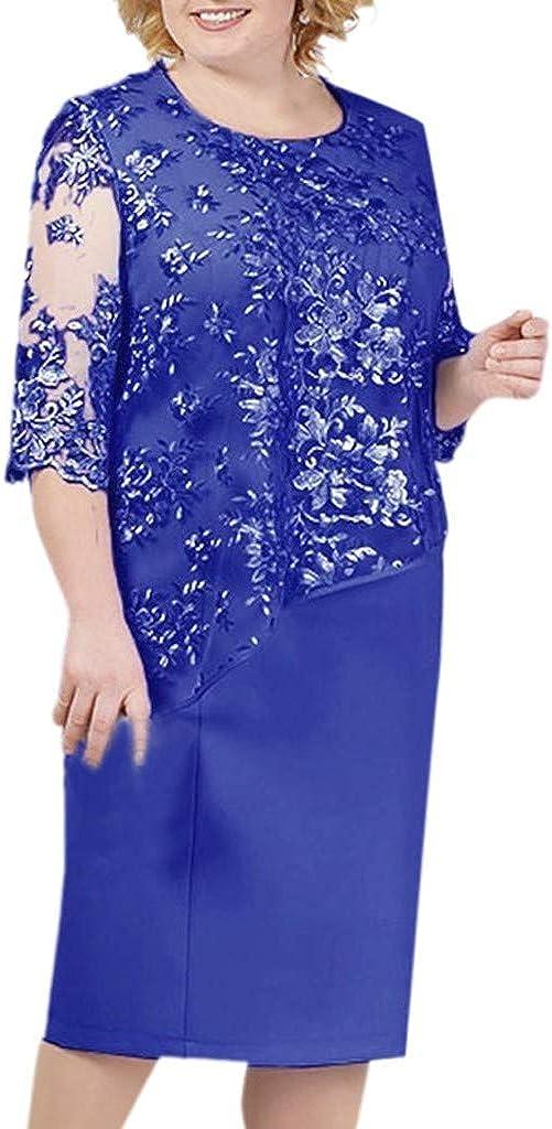 Reooly Nuevo Gran tamaño para Mujer, Costuras de Encaje, Cuello Redondo, Manga Corta, Vestido Corto de Longitud Media, Vestido de Noche de cóctel para Mujer