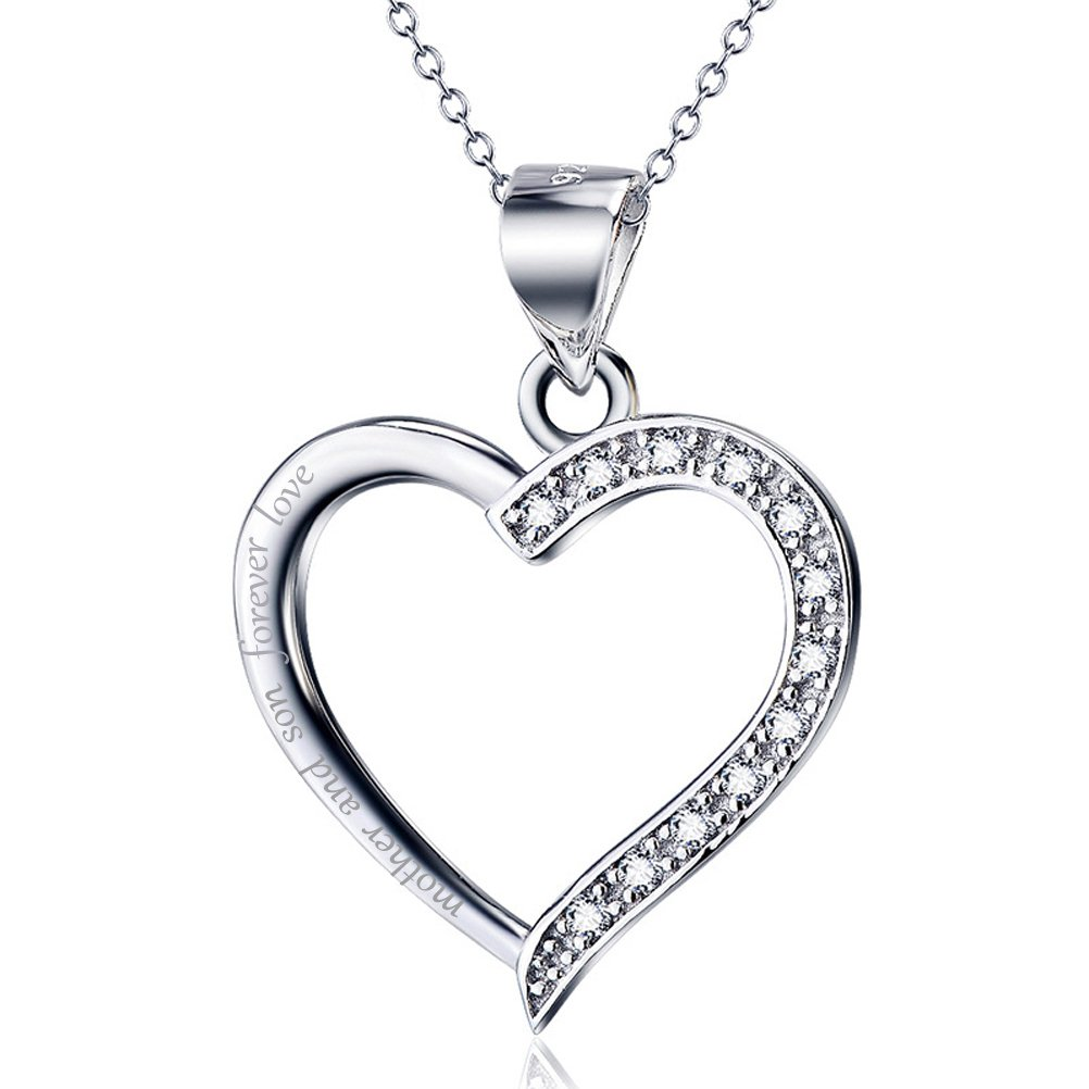 925 Sterling Silver Open Heart Necklace Pendant Quote Mother and son forever love for Women Chain