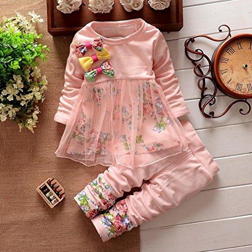 Omiky® Kleinkind scherzt Baby-Mädchen-Blumenkleid-T-Shirt Oberseiten-Kleid-Hosen 2PCS Ausstattungs-Set Rosa