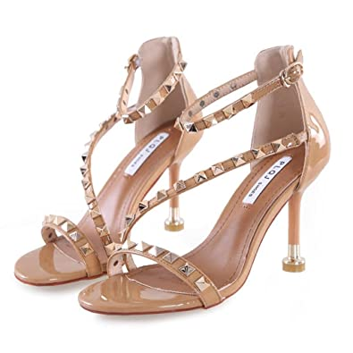 Hyun Times Sandals Open Toe Rivets One Word Buckle With High Heels