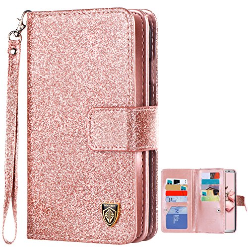 S8 Plus Case Samsung Galaxy S8 Plus Case BENTOBEN Glitter Luxury Bling Faux Leather Flip Credit Card Holder Wristlet Shockproof Protective Wallet Case for Girls (6.2 inch) Rose Gold